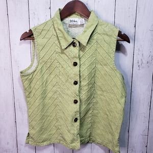 Vintage Kiko Green Linen Button Up Shirt Lagenlook